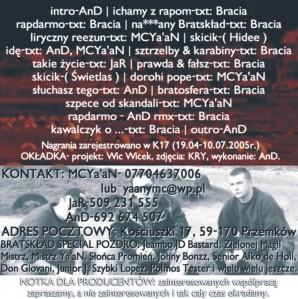 2005 - BRATSKLAD - Bratosfera Rap Darmo (back)